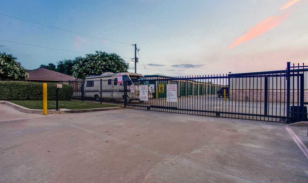 Gated Property with Coded Gate Access at Storage King Self Storage.