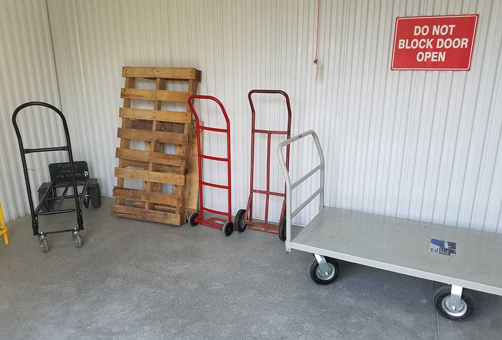 Dollies and carts are provided for your use at Winter's Storage.