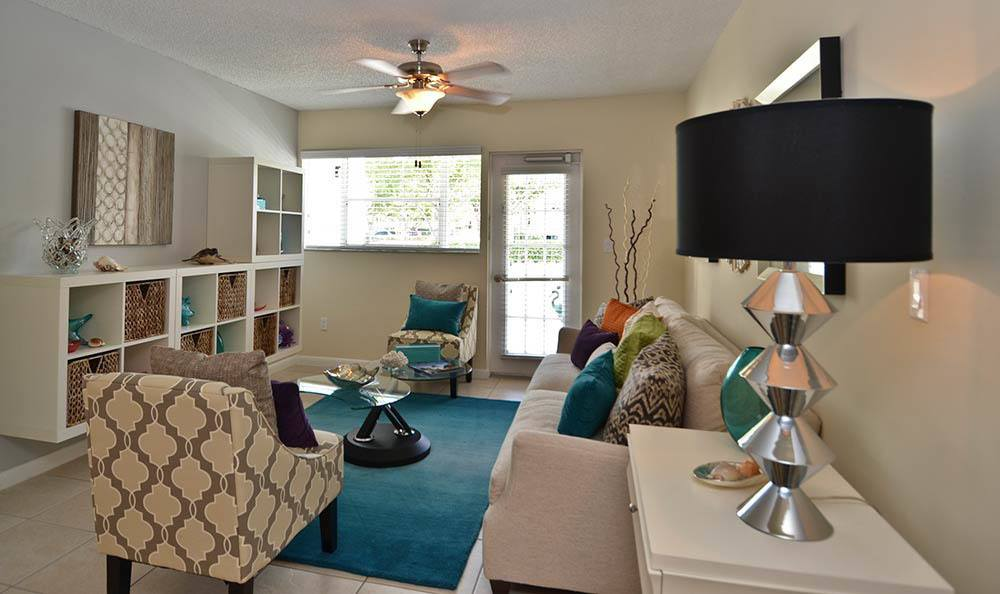 Spacious living room at Cypress Club Apartments in Tamarac