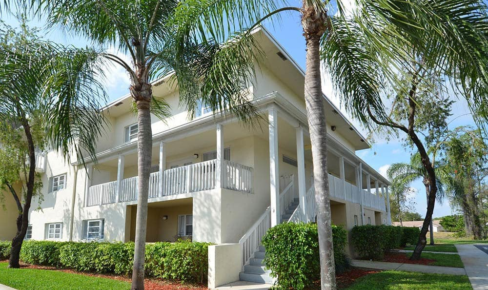 Palm trees and other beautiful landscaping at Cypress Club Apartments in Tamarac
