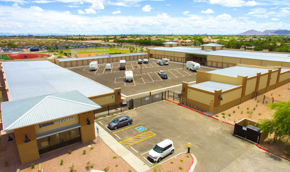 Aerial view of Dominion Self-Storage in Queen Creek, AZ