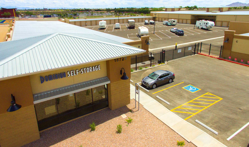 Aerial view of entrance at Dominion Self-Storage in Queen Creek, AZ