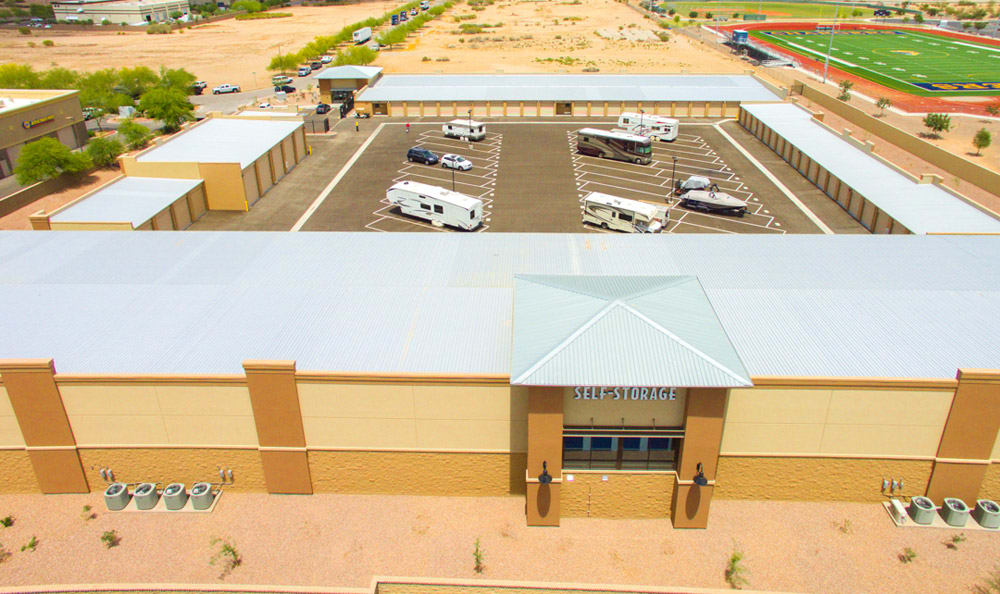 Large parking storage area at Dominion Self-Storage in Queen Creek, AZ