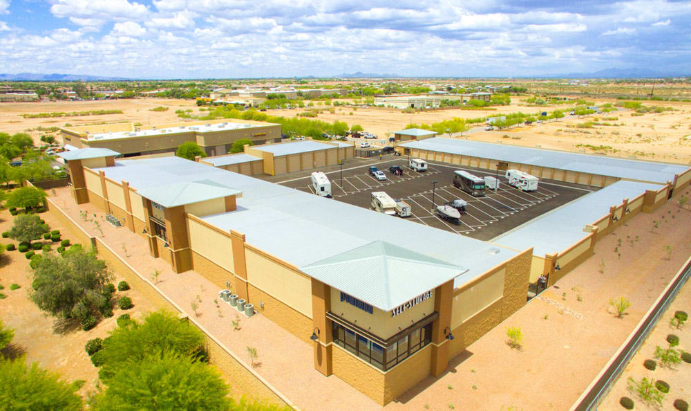 Aerial view of Dominion Self-Storage in Queen Creek