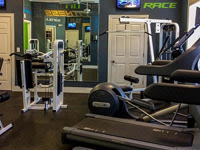 Fitness center at Springs at Bandera Apartments in San Antonio