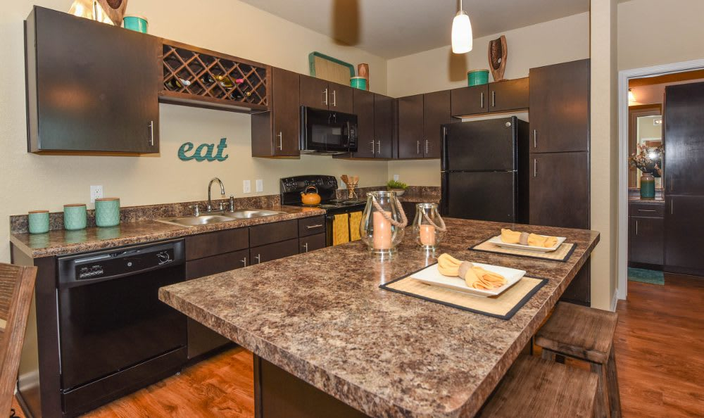 Kitchen at Springs at Country Club Apartments in Lake Charles