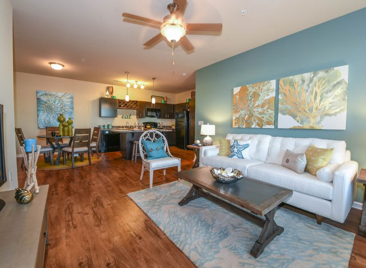 Living room at Springs at Country Club Apartments in Lake Charles