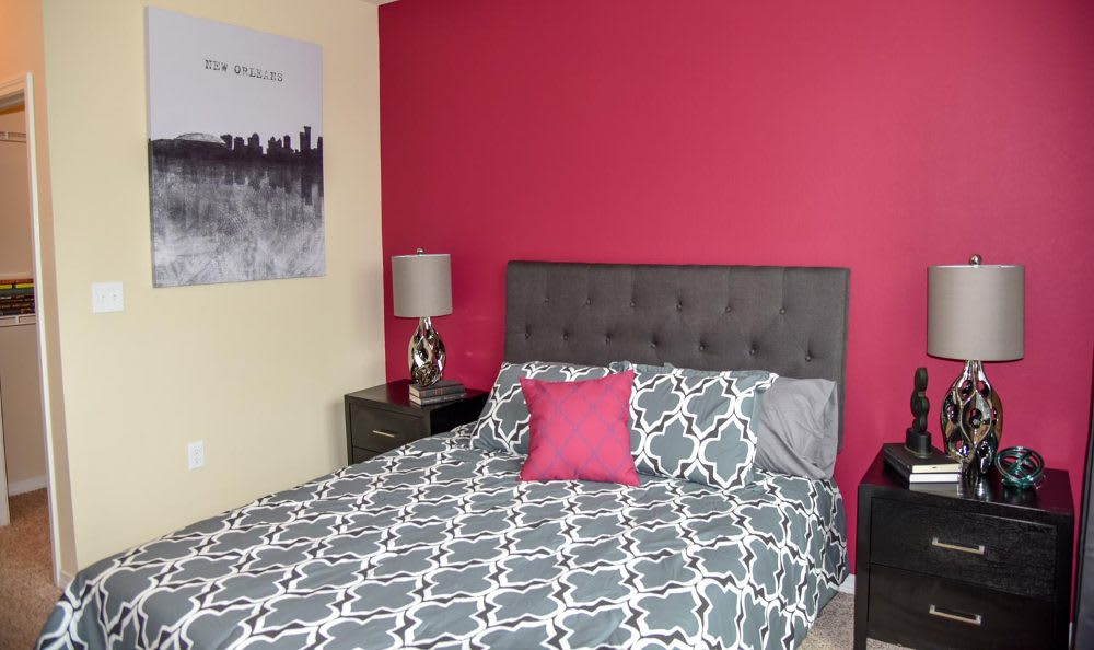 Well decorated bedroom at Springs at Fremaux Town Center Apartments in Slidell