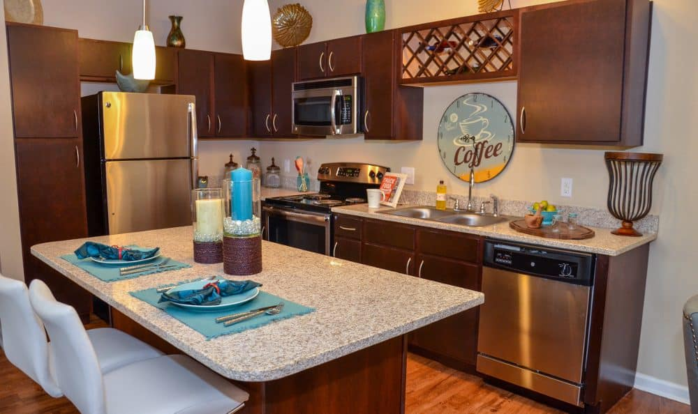 Kitchen at Springs at Liberty Township Apartments in Liberty Township