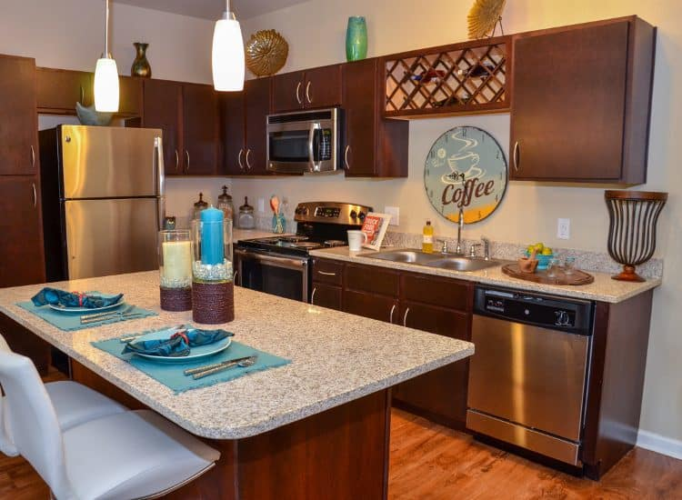 Updated kitchen at Springs at Liberty Township Apartments in Liberty Township