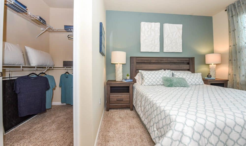Well decorated bedroom at Springs at Liberty Township Apartments in Liberty Township