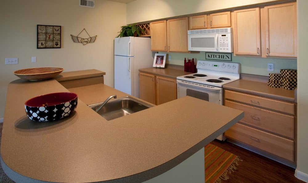 Updated kitchen at Springs at Live Oak Apartments
