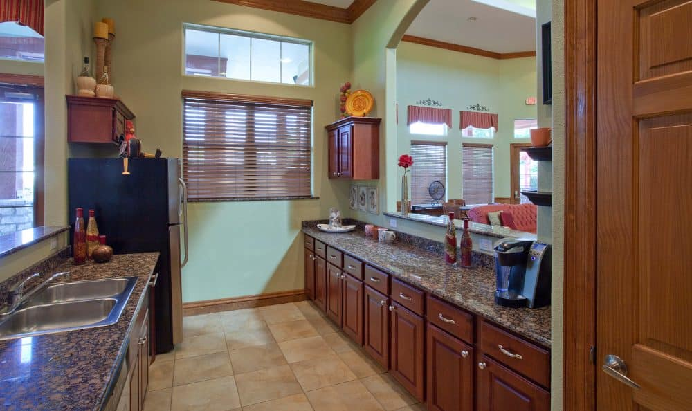 Clubhouse kitchen at Springs at Live Oak Apartments
