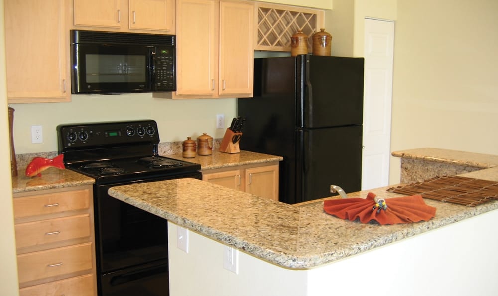 Upgraded kitchen at Springs at Live Oak Apartments