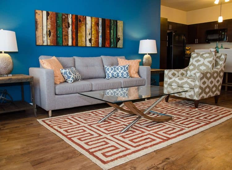 comfortable living room at Springs at Waukee Apartments in Waukee, IA