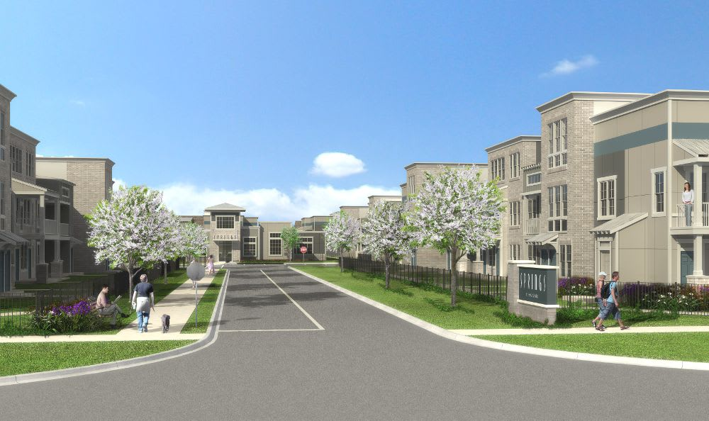3d generated street view at Springs at West Chester Apartments in West Chester, OH