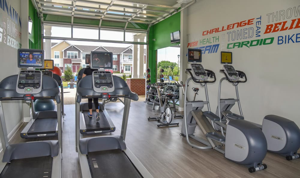 Fitness center at Springs at West Chester Apartments in West Chester