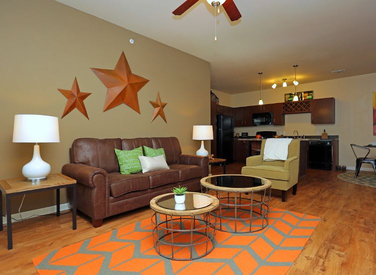well decorated living room at Springs at Woodlands South Apartments in Tulsa, OK