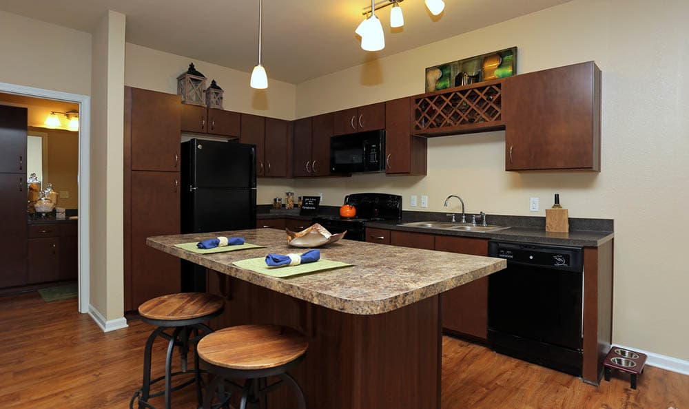 Kitchen Island At Springs at Woodlands South Apartments