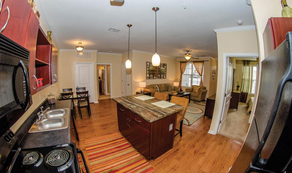living kitchen room combo at Springs at Greenville in Greenville, SC