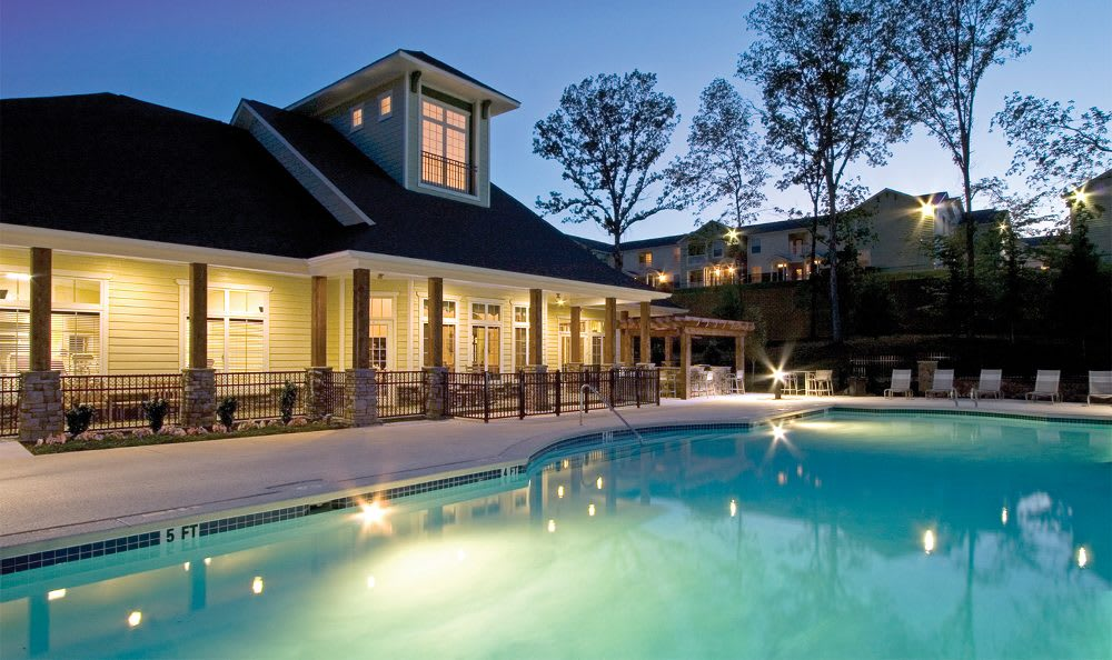 Clubhouse pool at night at Springs at Greystone in Birmingham