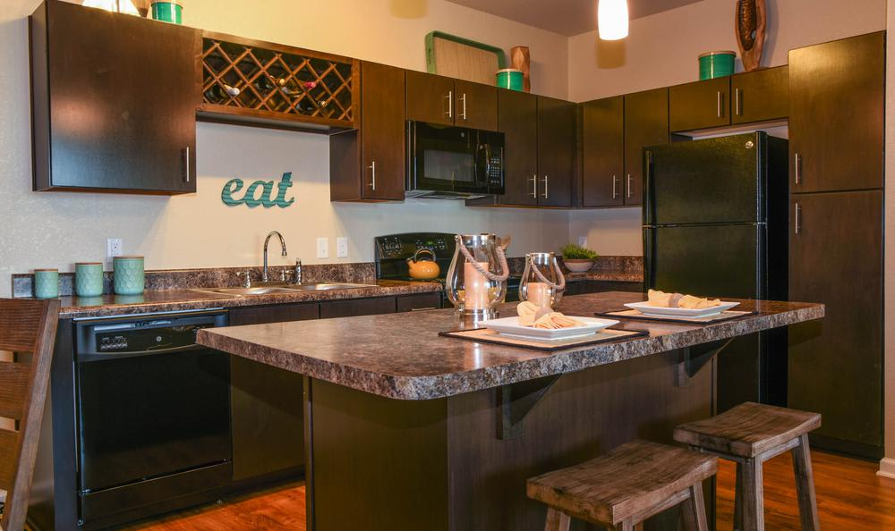 Fully equipped kitchen at Springs at May Lakes in Oklahoma City, OK