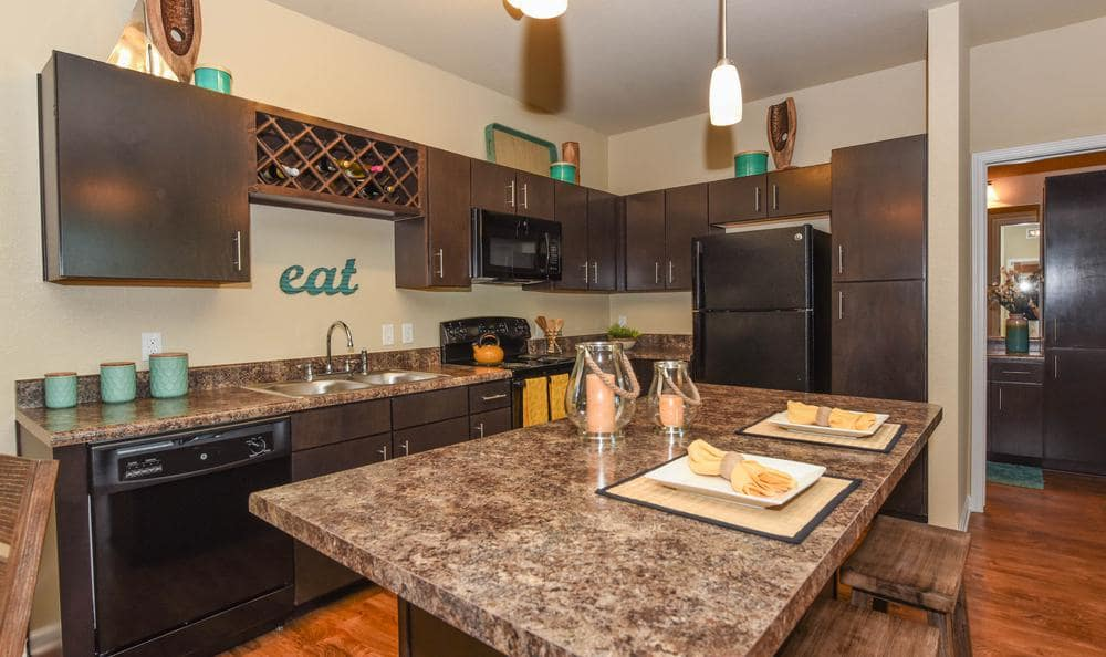 fully equipped kitchen at Springs at Weber Road in Romeoville, IL
