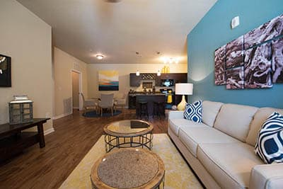 Living room at Springs at Orchard Road in North Aurora