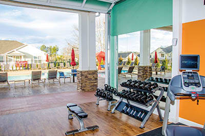 Fitness center at Springs at Cottonwood Creek Apartments in Waco
