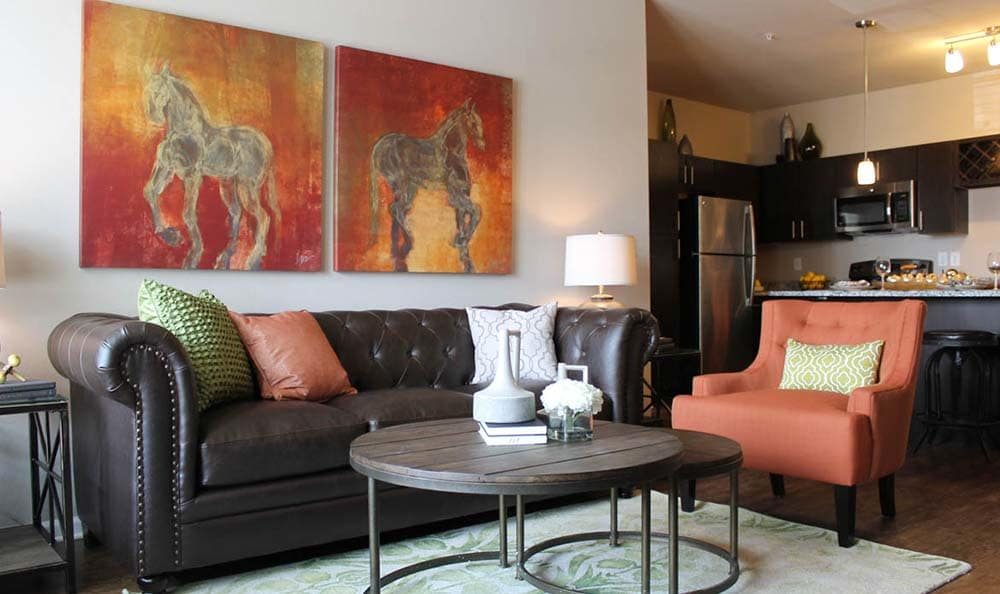 Spacious living room at Springs at Cottonwood Creek Apartments