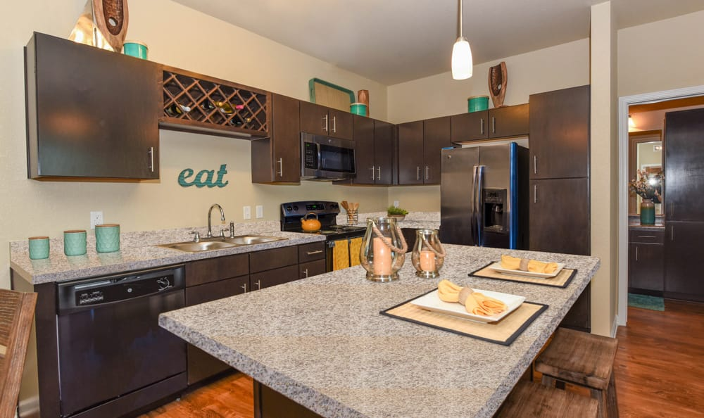 Fully equipped kitchen at Springs at Hurstbourne in Louisville, KY