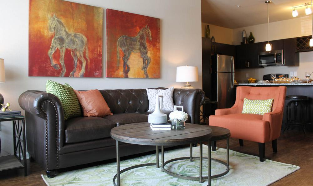 well decorated living room at Springs at Hurstbourne in Louisville, KY