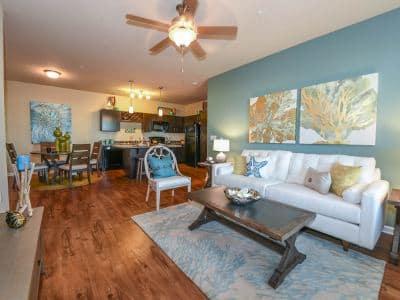 Spacious living room at Springs at University Drive in Bryan