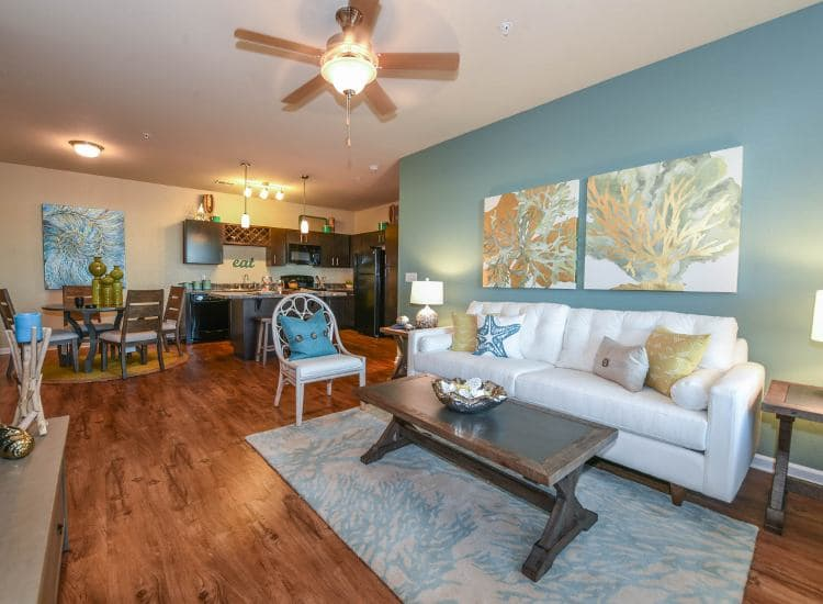 Spacious living room at Springs at University Drive in Bryan