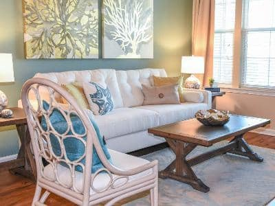 Gorgeous living room at Springs at Gulf Coast in Estero