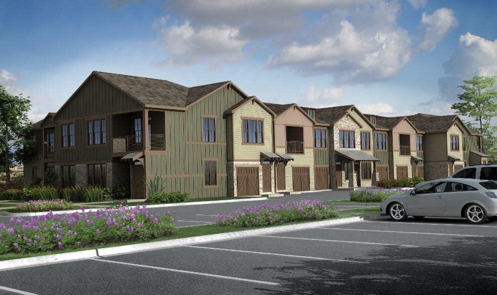 Apartment Building Exterior At Lakeline Photo