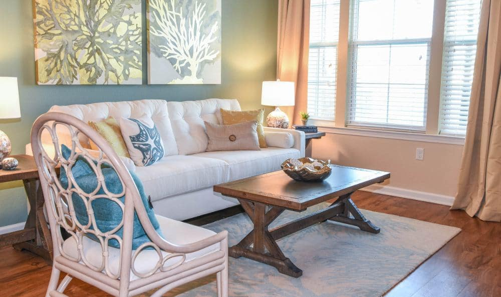 Well decorated living room at Springs at Six Mile Cypress