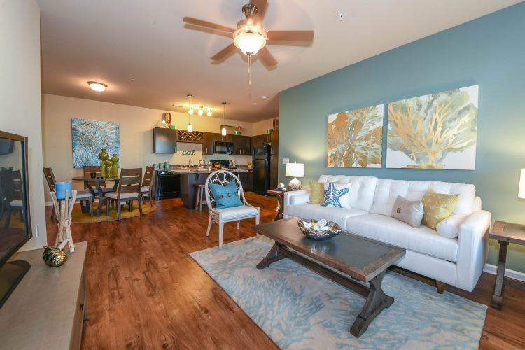 Spacious living room at Springs at Knapp's Crossing in Grand Rapids