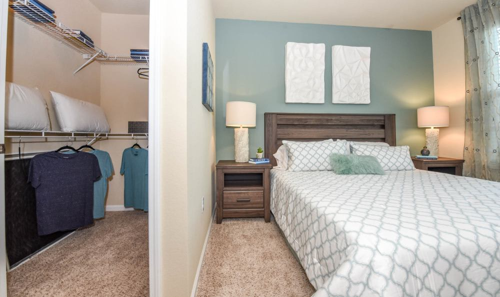 Bedroom with walk-in closet at Springs at Knapp's Crossing