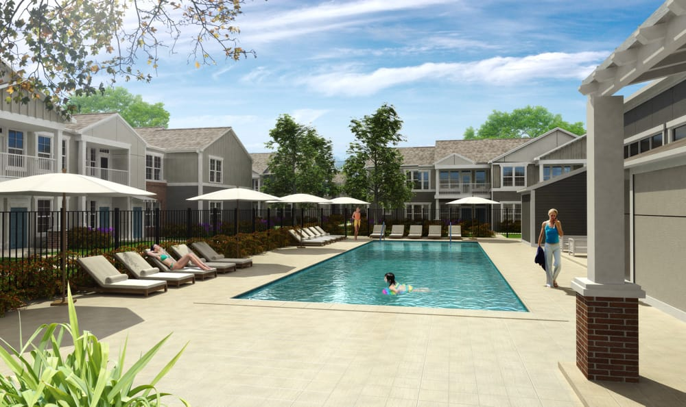 Resort-style pool at {location_name}} in South Elgin, IL