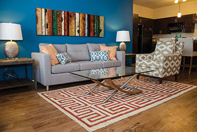 Living room at Springs at Canterfield in West Dundee