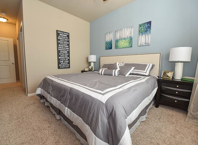 Modern Decorated Bedroom at Springs at Eagle Bend
