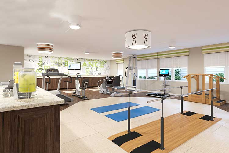 The gym at Arcadia Senior Living Bowling Green