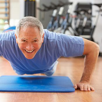 Doing push-ups is fun at Arcadia Senior Living Bowling Green