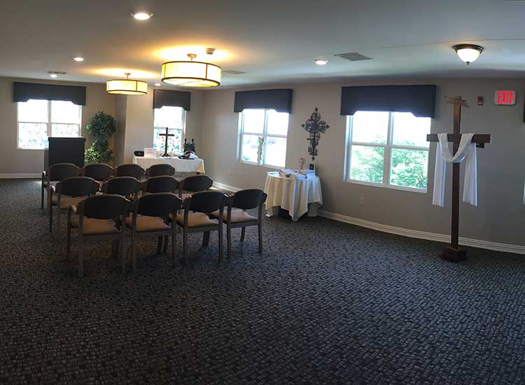 The charming chapel at RobinBrooke Senior Living