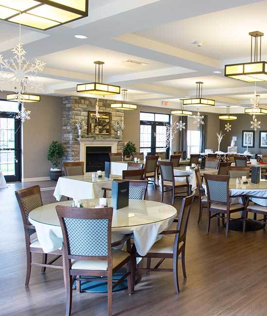 The exquisite dining hall at Arcadia Senior Living Bowling Green