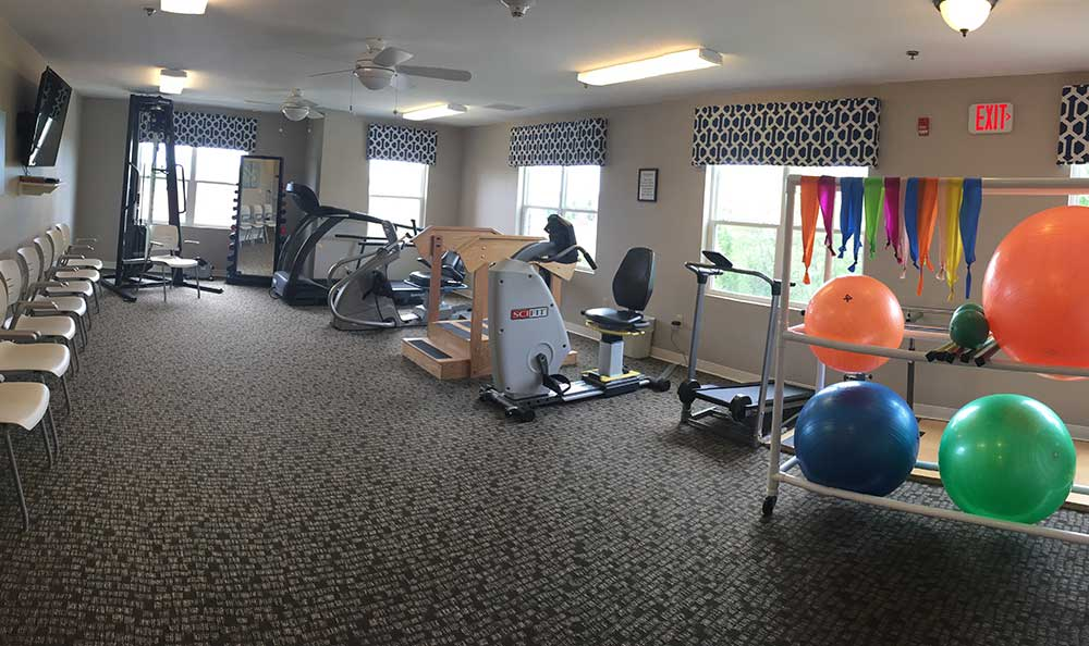 RobinBrooke Senior Living has an well-equipped fitness/rehab center.
