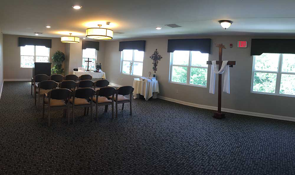 The chapel at RobinBrooke Senior Living is very pleasant at RobinBrooke Senior Living