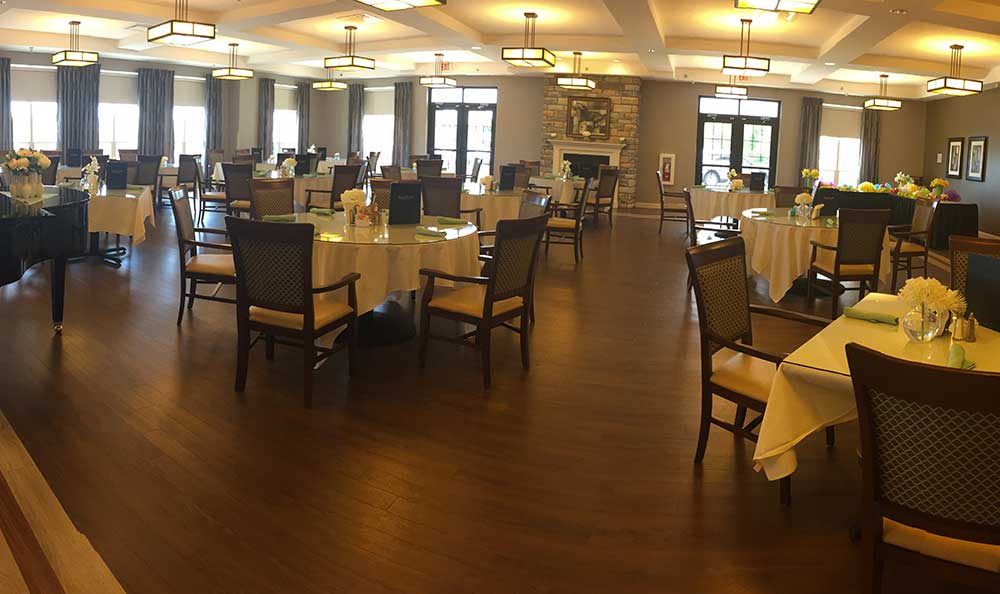 The large dining hall is perfect for parties and other RobinBrooke Senior Living events.