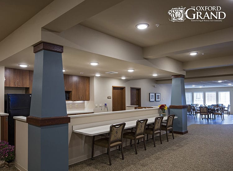 Community dining hall at The Oxford Grand Assisted Living & Memory Care in Kansas City